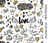 set of romantic vector icon in... | Shutterstock .eps vector #483700303