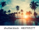 silhouettes of palm trees... | Shutterstock . vector #483705277