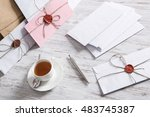 letter with seal on table | Shutterstock . vector #483745387