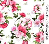 seamless floral pattern with... | Shutterstock .eps vector #483749473