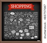 shopping doodle set. chalk... | Shutterstock .eps vector #483757087