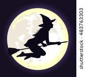 beautiful shining moon in dark... | Shutterstock .eps vector #483763303
