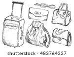 set of sketches of handbags... | Shutterstock .eps vector #483764227