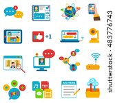 social network icons set with... | Shutterstock . vector #483776743