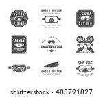 set of diving logos  labels and ... | Shutterstock . vector #483791827
