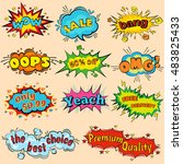 wow comic sound effects in pop... | Shutterstock .eps vector #483825433