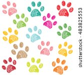 Stock vector colorful hand drawn doodle paw print vector illustration background 483825553
