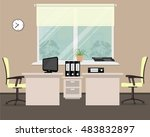 workplace for two office... | Shutterstock .eps vector #483832897