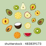 assorted healthy food icons... | Shutterstock .eps vector #483839173