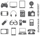 icons set of gadgets. joystick  ... | Shutterstock .eps vector #483843007