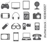 Icons Set Of Gadgets. Joystick...