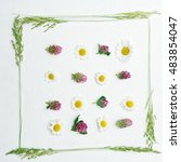 frame with field flowers  such...   Shutterstock . vector #483854047
