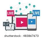social media live stream... | Shutterstock .eps vector #483867673
