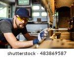 portrait of worker near... | Shutterstock . vector #483869587