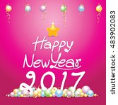 happy new year 2017 card with...   Shutterstock .eps vector #483902083