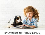 redhead girl with a cocker... | Shutterstock . vector #483913477