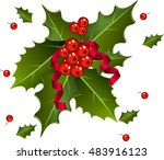 christmas berries with red... | Shutterstock .eps vector #483916123