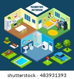 isometric interior concept with ... | Shutterstock . vector #483931393