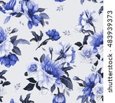 seamless floral pattern with... | Shutterstock .eps vector #483939373
