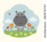 Funny Hippo. Cartoon Hippo On...