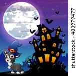 halloween grey kitten wearing... | Shutterstock . vector #483979477