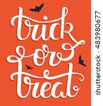 thick or treat hand lettering... | Shutterstock .eps vector #483980677