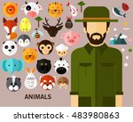 animals concept background.... | Shutterstock .eps vector #483980863