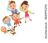 family who looks up at the sky | Shutterstock .eps vector #483995293