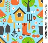 garden pattern seamless.... | Shutterstock .eps vector #483999343