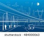 car overpass  infrastructure ... | Shutterstock .eps vector #484000063