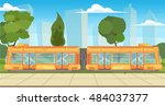 modern tram in the urban... | Shutterstock .eps vector #484037377