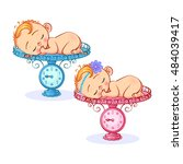 vector newborn baby boy and... | Shutterstock .eps vector #484039417