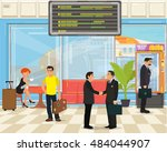 people with bags and suitcases... | Shutterstock .eps vector #484044907
