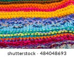 striped colorful wool texture... | Shutterstock . vector #484048693