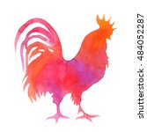 Watercolor Chicken. Rooster...