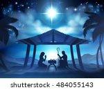 christmas nativity scene of... | Shutterstock .eps vector #484055143