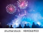 people watching the fireworks | Shutterstock . vector #484066903