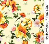 seamless floral pattern with... | Shutterstock .eps vector #484071637