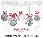 greeting card with christmas... | Shutterstock .eps vector #484071883