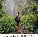 Beautiful Woman Hiker Standing...