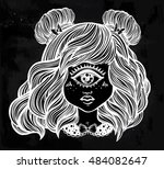 cute cyclops monster girl.... | Shutterstock .eps vector #484082647