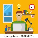 programmer sitting at the...   Shutterstock .eps vector #484090297