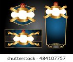 blue gold framed set ot label ... | Shutterstock .eps vector #484107757