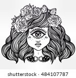 cute cyclops monster girl.... | Shutterstock .eps vector #484107787