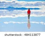 Girl On Surface Of Salt Lake...