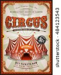 vintage circus poster with big... | Shutterstock .eps vector #484123543