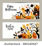 halloween banners set on white... | Shutterstock .eps vector #484160467