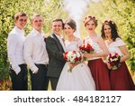 bridesmaids have fun while... | Shutterstock . vector #484182127