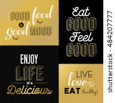 set of vintage food quotes in... | Shutterstock .eps vector #484207777