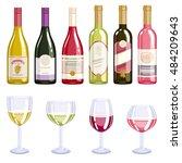 wine bottles and glasses icons... | Shutterstock .eps vector #484209643